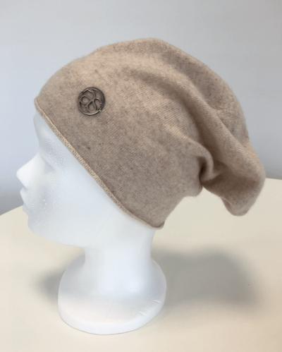 Mütze Meribel 100% Kaschmir beige/silber